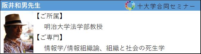 阪井和男先生 ご所属:明治大学法学部 ご専門:情報学/組織と社会の死生学
