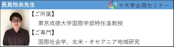 長島怜央先生 ご所属:東京成徳大学国際学部特任准教授 ご専門:国際社会学、北米・オセアニア地域研究